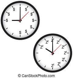 trabalho, conceito, durma tempo, relógio