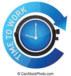 trabalho, conceito, ilustração, tempo
