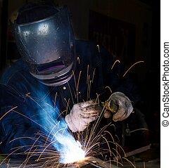 trabalho, construção, fabricando, soldador, difícil