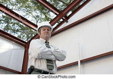 trabalho, construção, -, inspetor