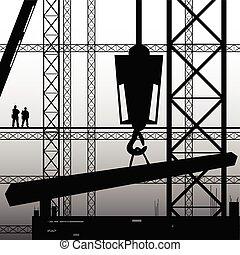 trabalho construção, trabalhador, ilustração, supervisionar