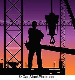 trabalho, construção, vetorial, ilustração, homem