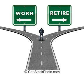 trabalho, direção, aposente