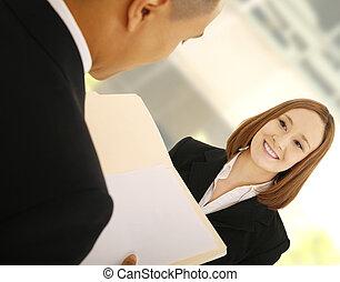 trabalho, discutindo negócio, equipe