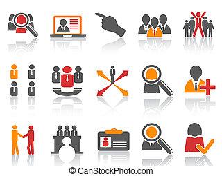 trabalho, e, human, recurso, ícones, jogo