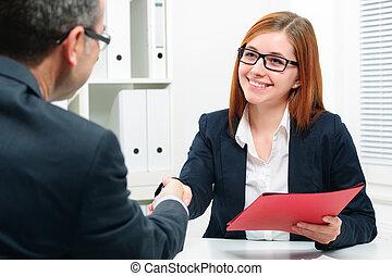 trabalho, entrevistar, aperto mão, enquanto