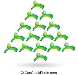 trabalho equipe, árvore verde, logotipo