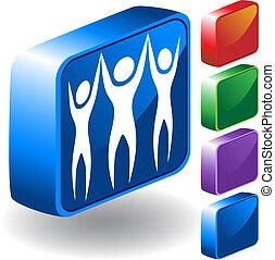 trabalho equipe, ícone