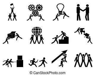 trabalho equipe, ícones, jogo