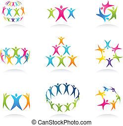 trabalho equipe, ícones
