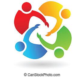 trabalho equipe, 4 pessoas, ajudando, logotipo