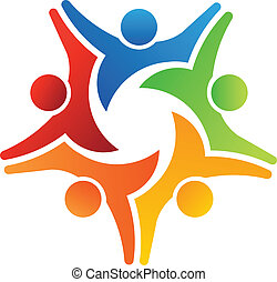 trabalho equipe, 5, alcance, logotipo