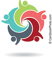 trabalho equipe, 5, logotipo