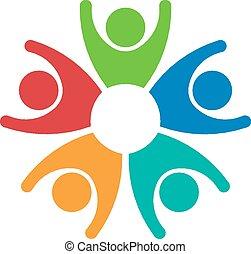 trabalho equipe, 5 pessoas, grupo, logotipo