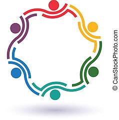 trabalho equipe, 6, círculo, ápice, logotipo