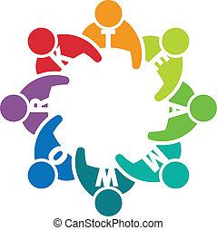 trabalho equipe, 8., reunião, grupo, pessoas