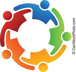 trabalho equipe, abraço, 5, logotipo