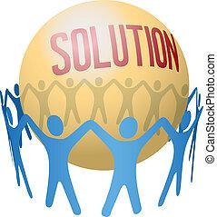 trabalho equipe, achar, juntar, solução, pessoas
