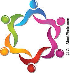 trabalho equipe, ajudando, pessoas, logotipo, vetorial