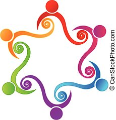 trabalho equipe, amizade, logotipo