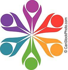 trabalho equipe, amizade, pessoas, logotipo