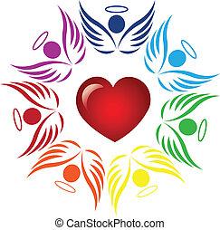 trabalho equipe, anjos, ao redor, coração, logotipo