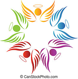trabalho equipe, anjos, logotipo