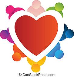 trabalho equipe, ao redor, coração, logotipo