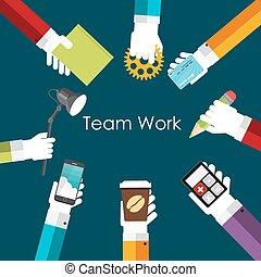trabalho equipe, apartamento, conceito, vetorial, ilustração