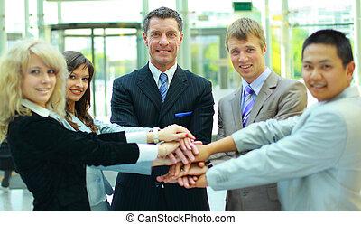 trabalho equipe, aperto mão