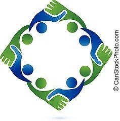 trabalho equipe, aperto mão, negócio, logotipo