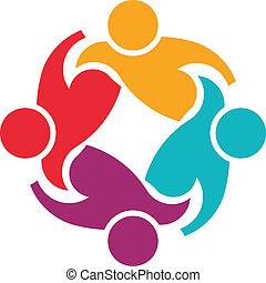 trabalho equipe, apoio, 4, imagem, logotipo