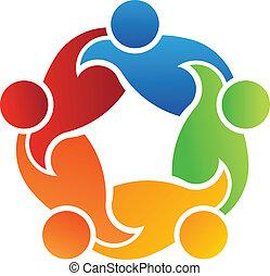 trabalho equipe, apoio, 5, logotipo