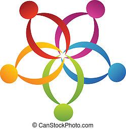 trabalho equipe, apoio, flor, logotipo