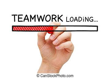 trabalho equipe, carregando, barzinhos, conceito