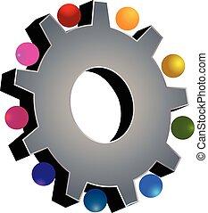 trabalho equipe, cinzento, engrenagem, logotipo