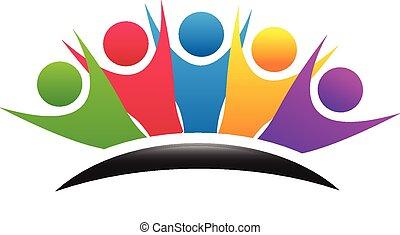 trabalho equipe, coloridos, feliz, grupo, logotipo