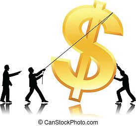 trabalho equipe, com, dólar, moeda corrente