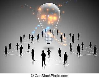 trabalho equipe, com, idéia, lâmpadas incandescentes