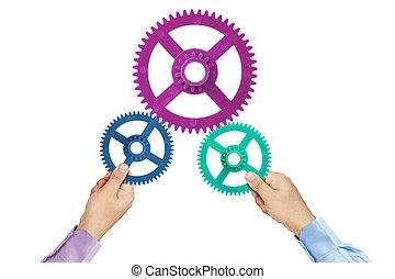 trabalho equipe, conceito, cogwheels, mãos