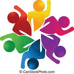 trabalho equipe, conceito, de, trabalhadores, logotipo