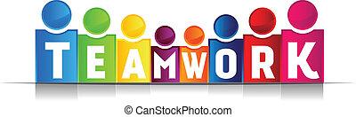 trabalho equipe, conceito, palavra