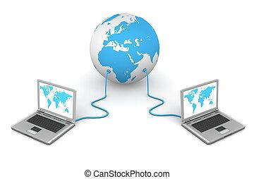 trabalho equipe, conectado, -, mundo