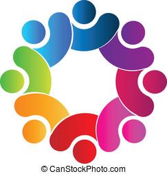 trabalho equipe, conexão, logotipo