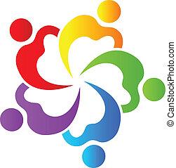 trabalho equipe, corações, 5 pessoas, logotipo