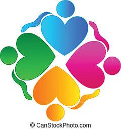 trabalho equipe, corações, abraçando, pessoas, logotipo