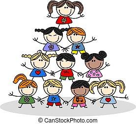 trabalho equipe, crianças, etnicidade