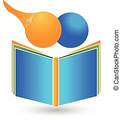 trabalho equipe, crianças, livro, logotipo
