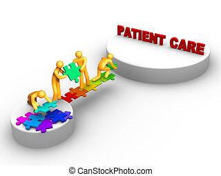 trabalho equipe, cuidado paciente