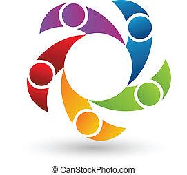 trabalho equipe, de, 5 pessoas, logotipo, vetorial